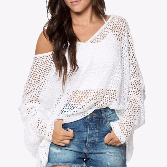 Free People Womens Anabelle One-Shoulder Top Blue Large